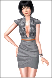 Belted tulip dress with embroidered top. 3 recolorable areas, 4 color variations, custom thumbnails, new custom mesh by Lorandia Sims 3