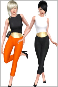 Big metalized belt outfit. 3 recolorable areas, 3 color variations, custom cas and launcher thubnails, new custom mesh by Lorandia Sims 3