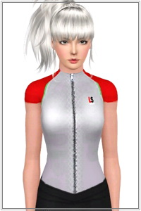 Zip front sport top for your athletic Sims 3 females wardrobe. 3 recolorable areas, 3 color variations, custom thumbnails.