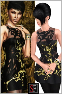 Embellished dress included in Spiked collection featured on SF Magazine Issue 18. 2 recolorable areas, new custom mesh by Lorandia Sims 3