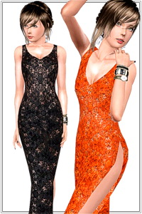 Lace side slit gown,2 recolorable areas,custom cas and launcher thumbnails, mesh from Sims 3 Katy Perry's Sweet Treats, base game compatible.
