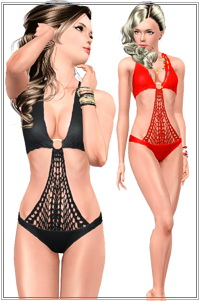 Crochet swimwear. 3 recolorable zones, 2 color variations, custom CAS and launcher thumbnails, base game compatible.