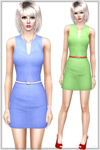 Dress with narrow belt. 2 recolorable areas, 3 color variations, custom cas and launcher thumbnails, custom mesh, base game compatible