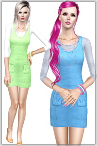 Casual dress, 2 recolorable areas, 3 color variations in the same pack, custom cas and launcher thumbnails, custom mesh.