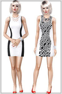 Monochrome dress featuring 2 trendy black and white styles. 2 recolorable areas, can be made uni using the same color in both channels.