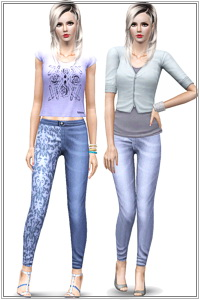 Trendy denim - Block printed jeans in 3 styles - 2 with prints and one plain. 3 recolorable areas, custom thumbnails, EP5 mesh base game compatible.