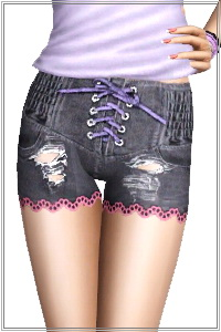 Distress corset denim shorts with lace. 4 recolorable zones, 3 color variations included in the same pack, custom CAS and launcher thumbnails.