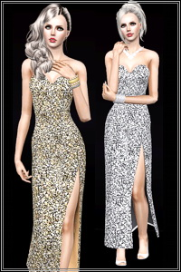 Side slit metallic formal dress. 3 recolorable areas, 3 color variations, custom thumbnails, EP3 mesh adapted for base game