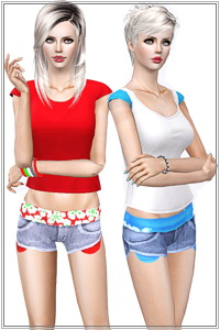 Summer denim short with floral print on waist. 3 recolorable zones, 3 color variations, custom thumbnails, base game compatible.