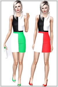 Colorblock designer day dress, 3 recolorable zones, 3 color variations, custom thumbnails, custom mesh.