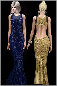 Open back gown for sparkling nights. 3 recolorable areas, 4 color variations included, custom thumbnails, custom mesh, base game compatible