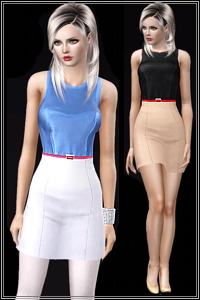 Faux leather top dress, 4 recolorable areas, 3 color variations, custom thumbnails, custom mesh, base game compatible.