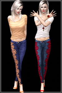 Lacey Skinny Jeans in 2 styles asymmetrical and symmetrical. 3 recolorable areas, 4 color variations, custom cas and launcher thumbnails.