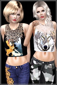 Bambi and wolf graphic plus classy crop tops. 3 recolorable areas, 4 styles, custom thumbnails, custom mesh, base game compatible