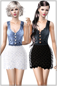 Denim and lace dress with transparency. 4 recolorable zones, 3 color variations, custom thumbnails, new custom mesh, base game compatible.