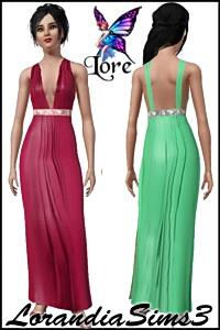 Beautiful evening dress. 2 recolorable areas, 3 color variations in the same pack and custom CAS thumbnails.