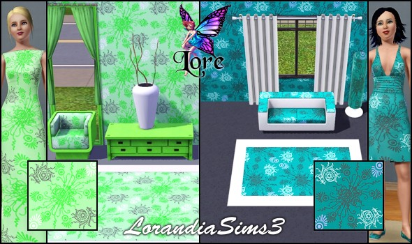 Floral patterns in 4 custom colors suitable for cloth, decoration, carpet, rugs, wall, floor...