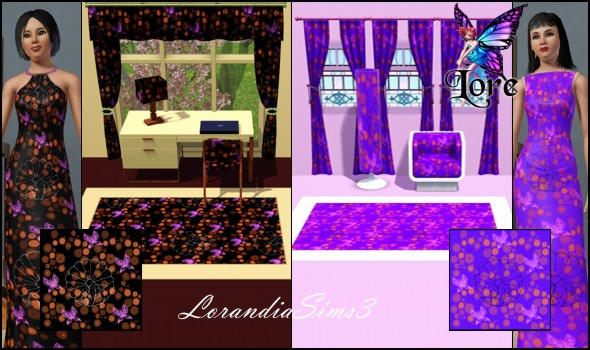 Beautiful pattern with flowers in 4 custom colors in 2 versions. Suitable for clothes, sheets, curtains, walls, rugs, carpets...