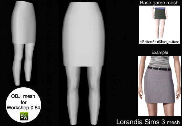 Classic above knee skirt Sims 3 OBJ mesh for Workshop 0.64. Base game compatible, replacement for afBottomSkirtShort_buttons