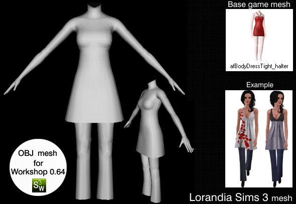 Wide dress with pants outfit, Sims 3 OBJ mesh for Workshop 0.64. Base game compatible, replacement for afBodyDressTight_halter
