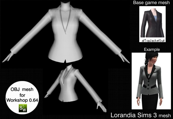 Formal suit jacket, Sims 3 OBJ mesh for Workshop 0.64. Base game compatible, replacement for afTopJacketSuit