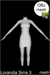 Asymmetric bottom cut dress Sims 3 OBJ mesh for Workshop 0.64. Base game compatible, replacement for afBodyDressTight_halter