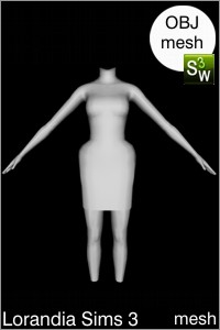 Extended hips tulip dress Sims 3 Obj mesh for Workshop 0.64. Base game compatible, replacement for afBodyDressTight_halter