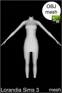 Cut off swallow dress Sims 3 OBJ mesh for Workshop 0.64. Base game compatible, replacement for afBodyDressTight_halter