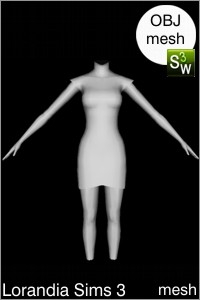 Small shoulders tulip dress Sims 3 mesh for Workshop 0.64. Base game compatible, replacement for afBodyDressTight_halter