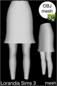 Bell skirt above knee, OBJ Sims 3 mesh for Workshop 0.64. Base game compatible, replacement for afBottomSkirtShort_buttons