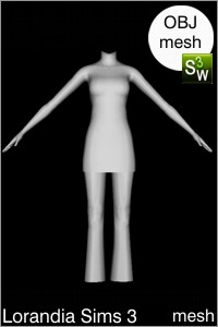 Short dress with flared pants outfit Sims 3 OBJ mesh for Workshop 0.64. Base game compatible, replacement for afBodyDressTight_halter