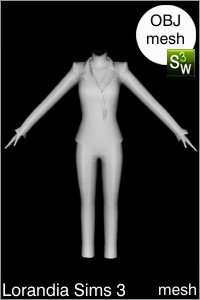 Suit outfit with pants Sims 3 OBJ mesh for Workshop 0.64. Base game compatible, replacement for afBodySuitWideLapel_designer