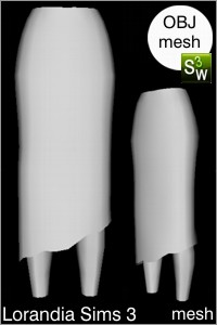 Long asymmetric skirt Sims 3 OBJ mesh for Workshop 0.64. Base game compatible, replacement for afBottomSkirt_aline