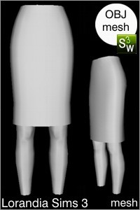 Fitted pencil skirt Sims 3 OBJ mesh for Workshop 0.64. Base game compatible, replacement for afBottomSkirtAboveKneeFitted_JeanStyle