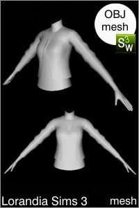 Rolled sleeves jacket, Sims 3 OBJ mesh for Workshop 0.64. Base game compatible, replacement for afTopJacket34Sleeve