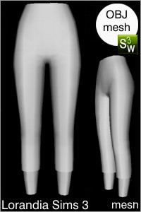 Capris pants, Sims 3 Obj mesh for Workshop 0.64. Base game compatible, replacement for afBottomPantsCapri_yoga