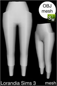 Oversized pocket pants, Sims 3 Obj mesh for Workshop 0.64. Base game compatible, replacement for afBottomPantsCapri_yoga