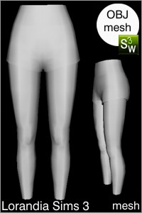 Short pants, Sims 3 Obj mesh for Workshop 0.64. Base game compatible, replacement for afBottomShortsSidePiping