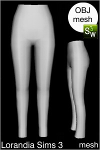 Low rise skinny long pants, Sims 3 Obj mesh for Workshop 0.64. Base game compatible, replacement for afBottomPantsSkinnyLegLowRise_long