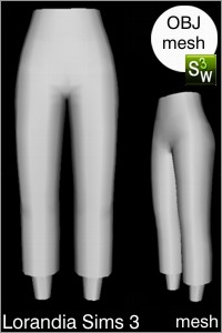 Long capris pants, Sims 3 Obj mesh for Workshop 0.64. Base game compatible, replacement for afBottomPantsCapriSlacks